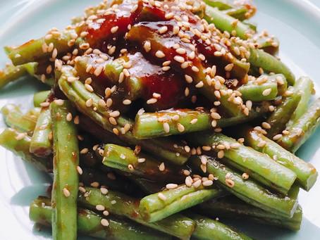 29.いんげん豆をさっと炒めた甘めの黒味噌ソース
