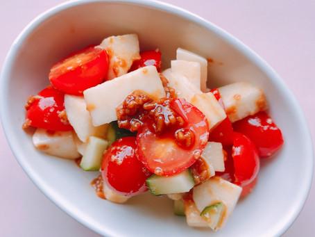 8.さっぱりでも旨み豊富なミニトマトと山芋の醤油糀和え