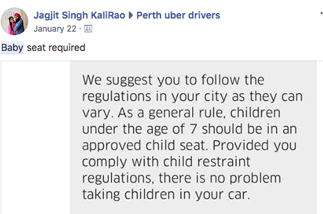 Car seats and Uber, the law and in practice.