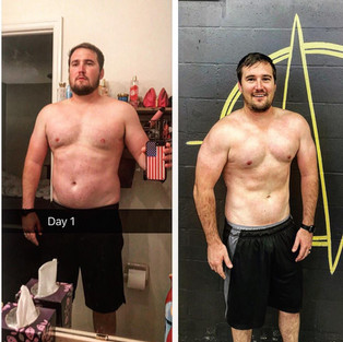 Before and after picture showing excellent results from Lakeland workouts