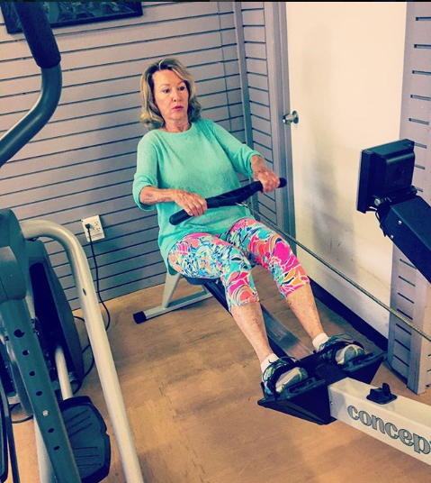 Client on the rower machine getting a great workout