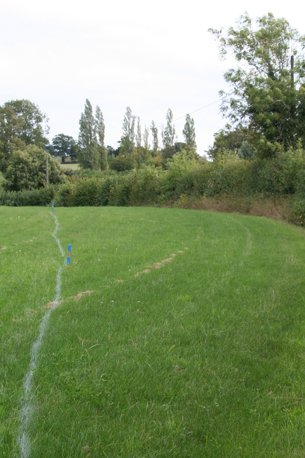 The hedge on the right has to move back to the white line...