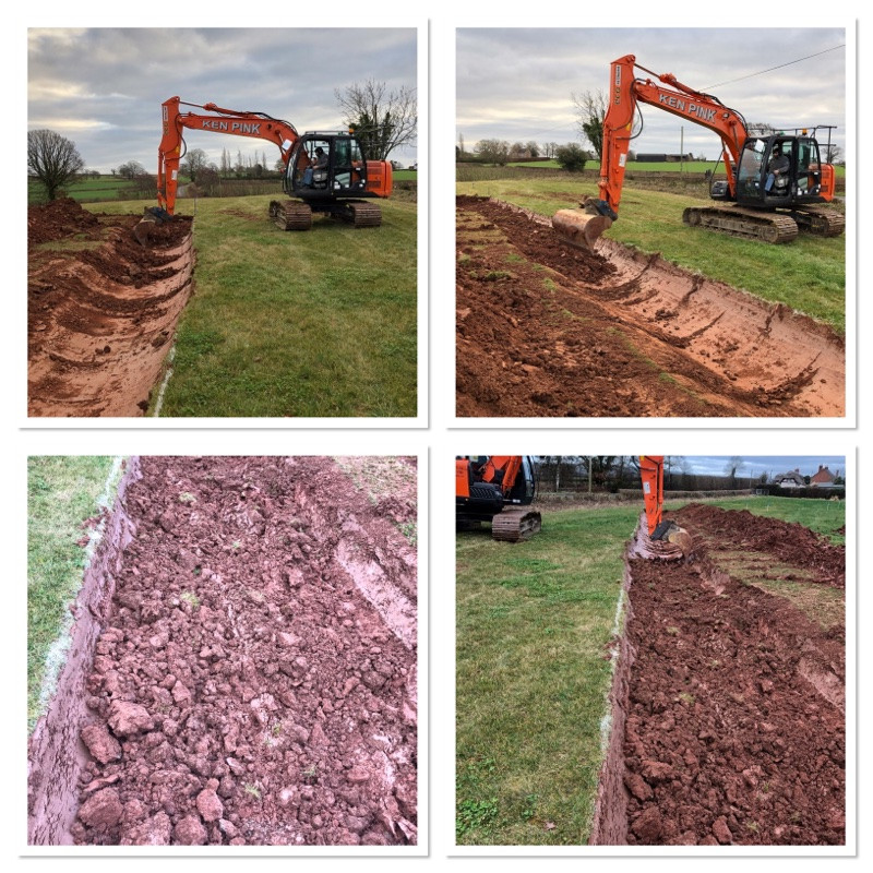 Step by step moving a hedge in Herefordshire using thirteen ton digger at Cwtch Cabins & Camping in Much Marcle