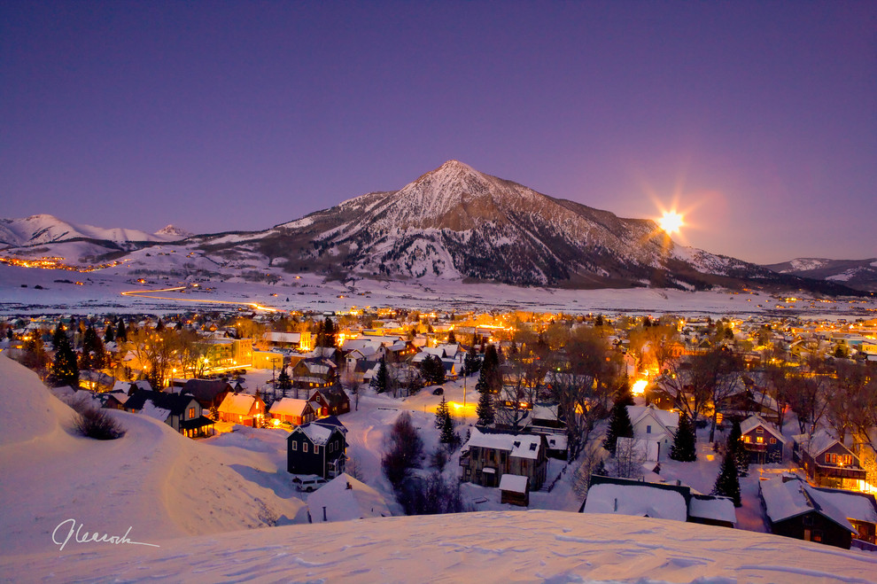 Crested Butte Winter Moonrise