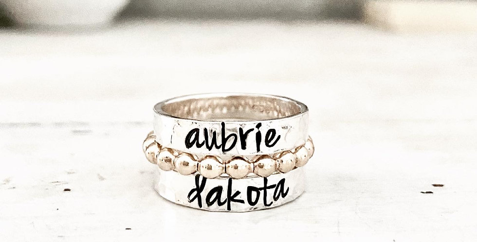 RING SET -2 Personalized Hammered Rings and 1 Gold lg Beaded Ring