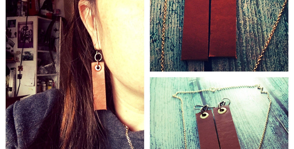 Saddle tan leather earrings with brass accents