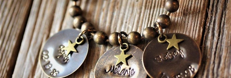 Antique Brass Disc Necklace