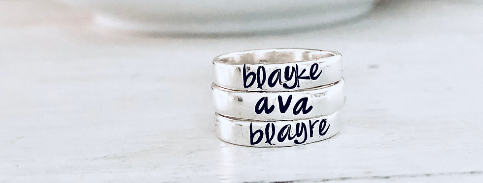 Personalized Stack Ring - Set of 3 - Smooth