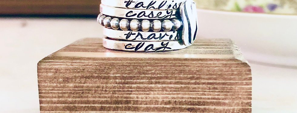 RING SET : Personalized Skinny Ring Set of 4 with 1 artisan heart beaded ring