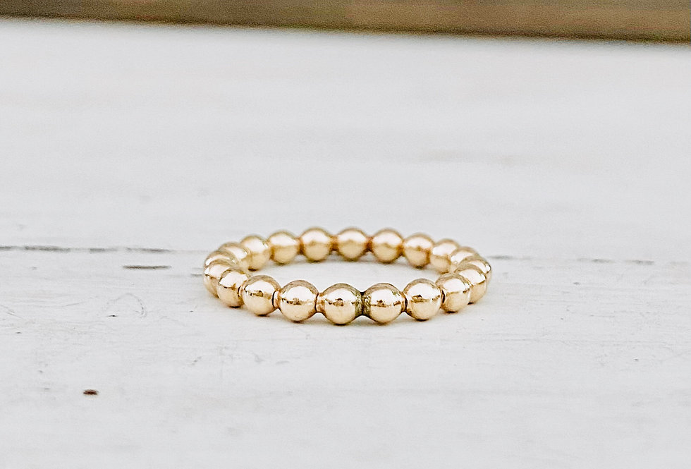 Gold Filled Skinny lg Beaded Stackable Ring 2mm
