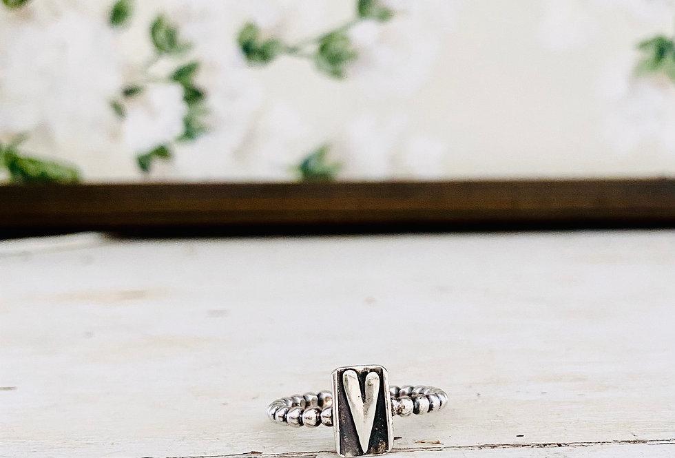 Love Letter Artisan Heart Beaded Sterling Ring