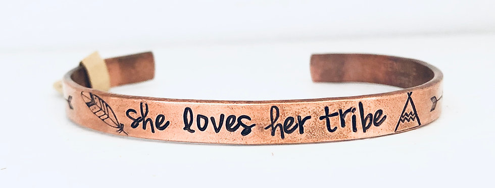 She Loves Her Tribe Copper Cuff (ready to ship)