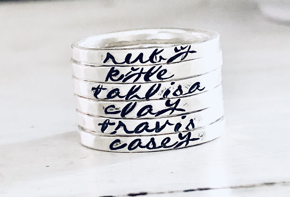 Personalized Stack Ring - Set of 6 - Hammered