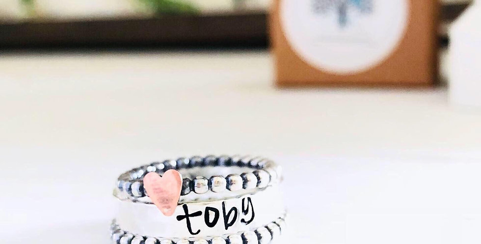 Beaded Copper Heart Personalized Ring Set