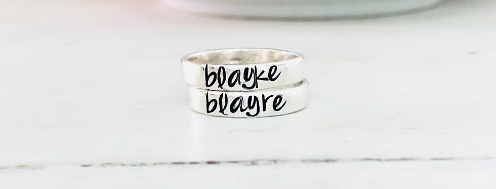 Personalized Stack Ring - Set of 2 - Smooth