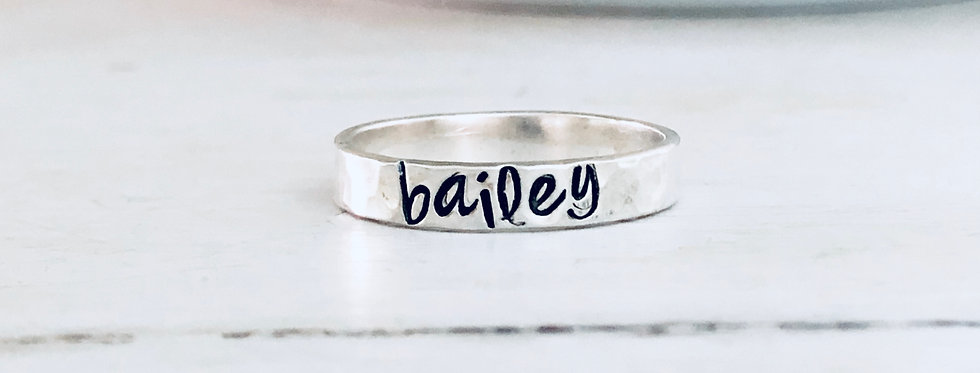 Personalized Stack Ring- 1 Ring - Hammered