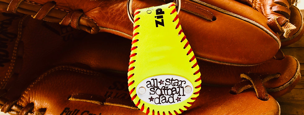 Softball Key Fob and Ring (custom stamping on plates on both sides of fob)