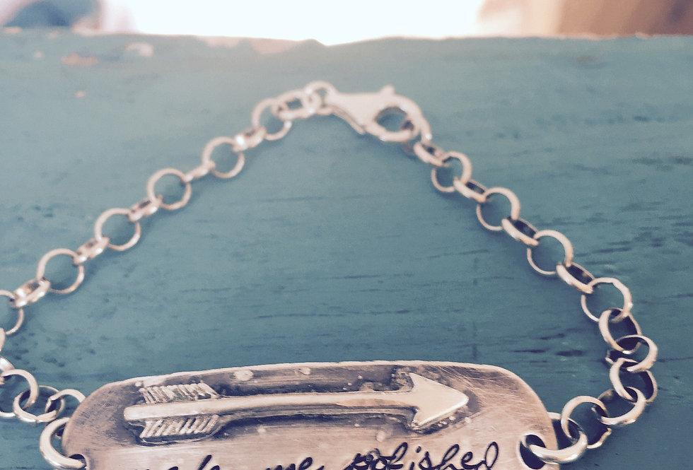 Make me Polished Like an Arrow hand-stamped chain bracelet