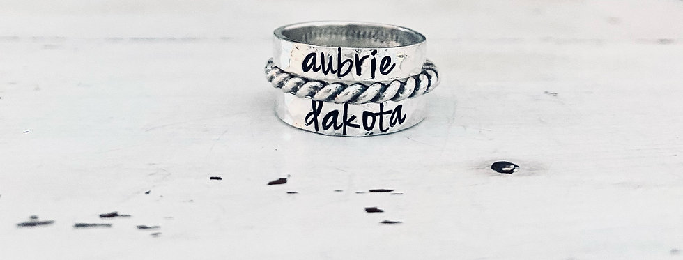 RING SET -2 Personalized Hammered Rings and 1 Twist Accent Ring