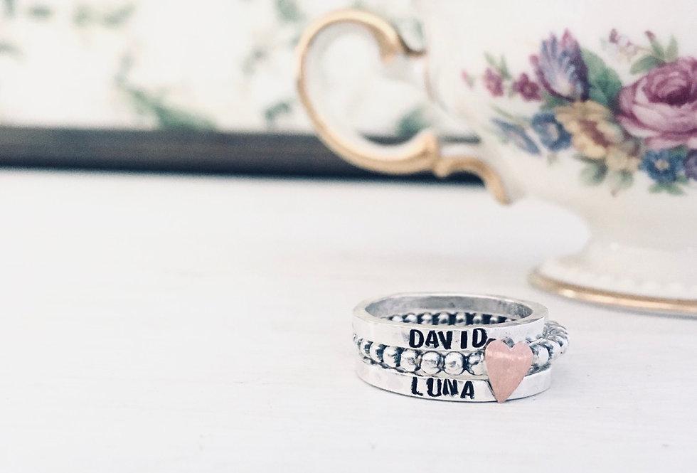 SKINNY RING SET- 2 Skinny Name Rings & 1 Beaded Copper Heart ring