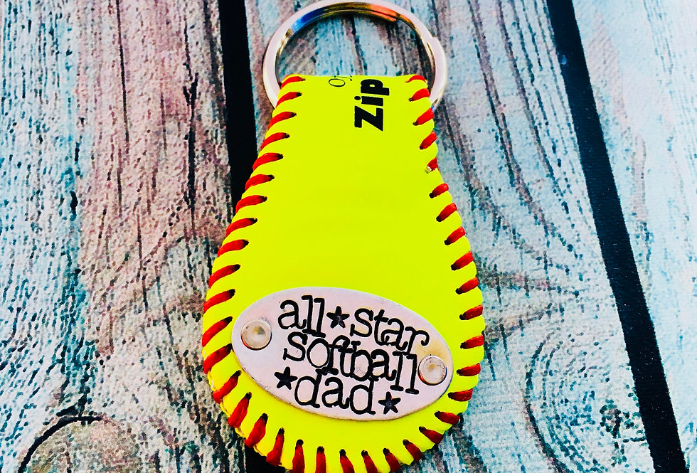 Softball Key Fob and ring (custom stamping on a single side of key fob)