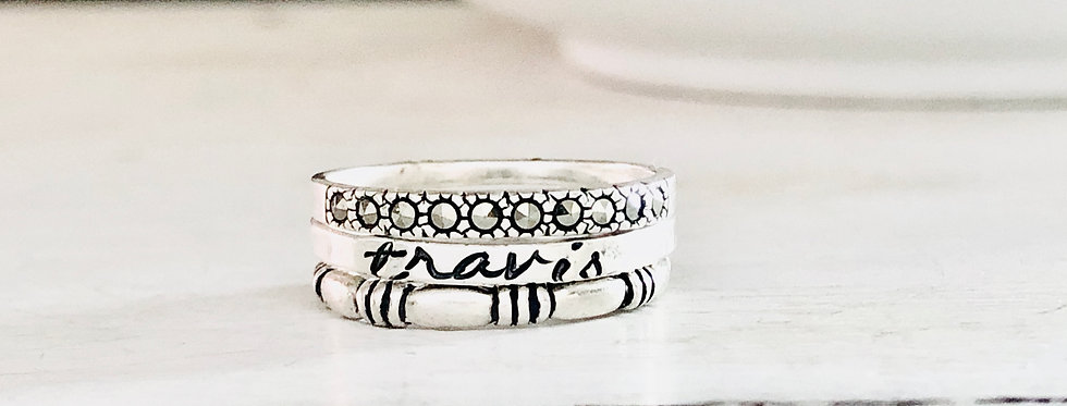 RING SET : Personalized Skinny Ring with 1 triple stripe and 1 marcasite ring
