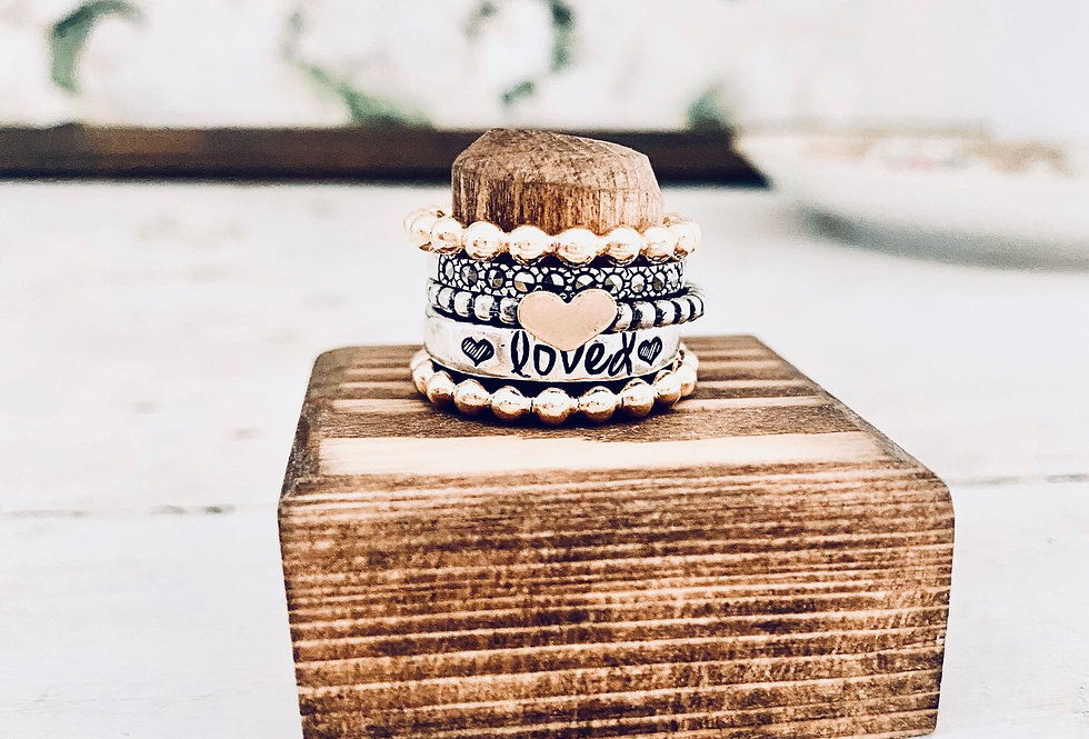 All the Love Gold and Silver Ring set Stack