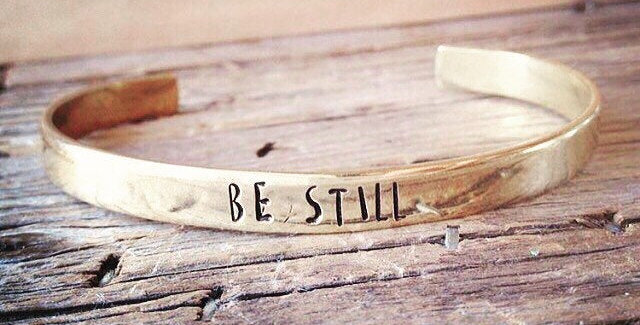 BE STILL simple brass cuff