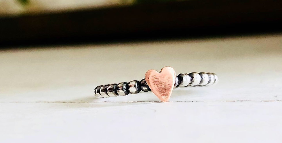 Ready to Ship size 6 Beaded Stackable  Ring with Skinny Copper Heart