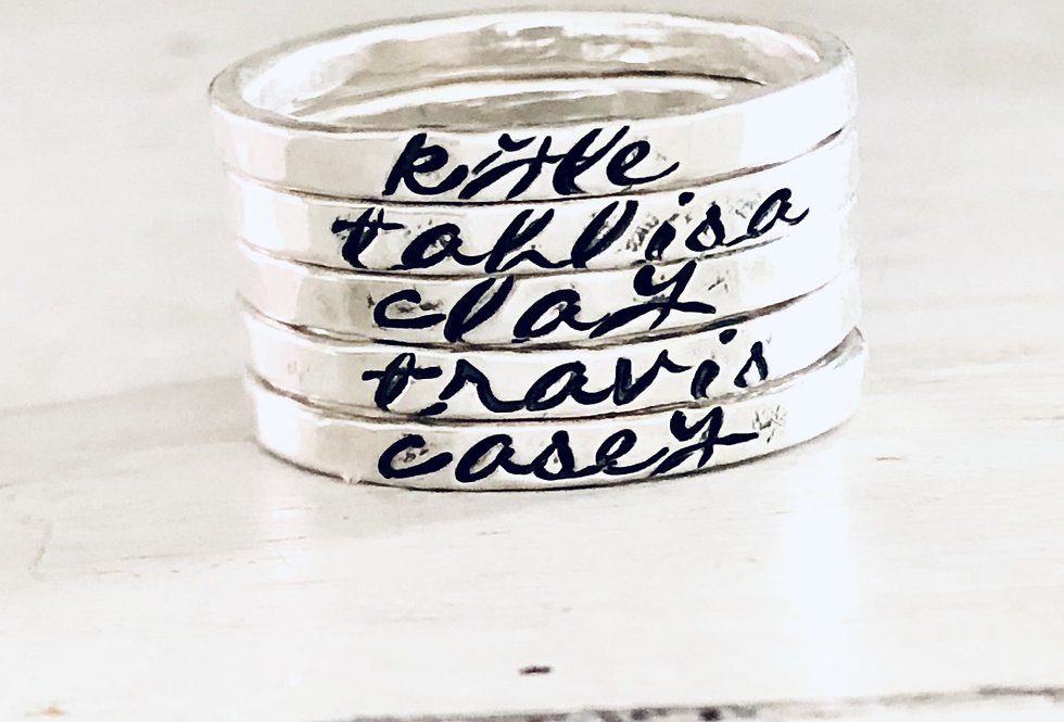 Personalized Stack Ring - Set of 5 - Hammered