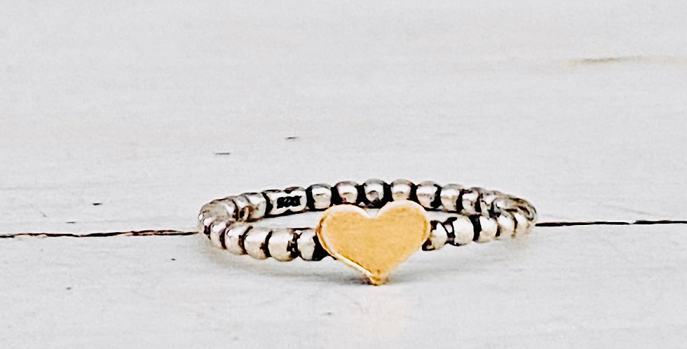 Beaded Stackable  Ring with Skinny Gold Filled Heart