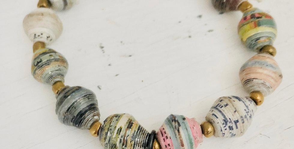 """Free Spirit"" Colorful, Paper Bead Bracelet (ready to ship)"