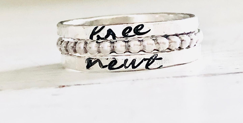 RING SET : Personalized Skinny Ring Set of 2 with 1 beaded ring