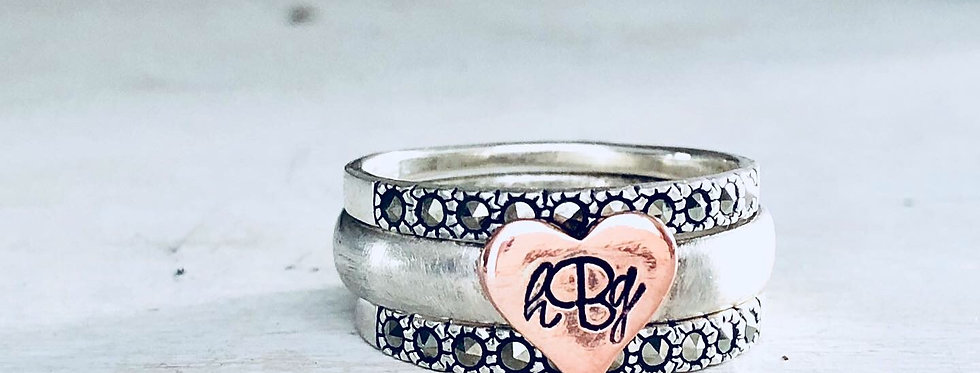 RING SET : Copper Heart Initial Ring with Marcasite Crystal Rings