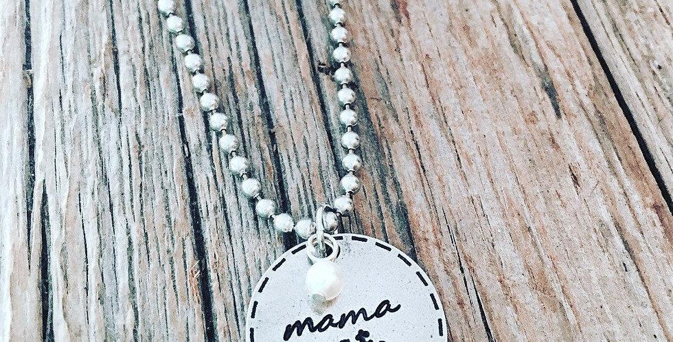 Mama est. 2018 pewter necklace handstamped