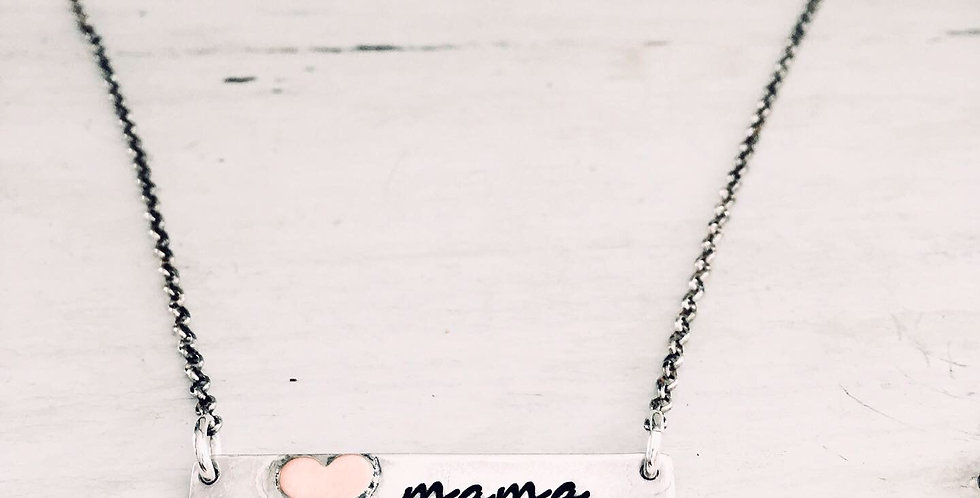 Mama Bar Necklace with Sweet Soldered Heart