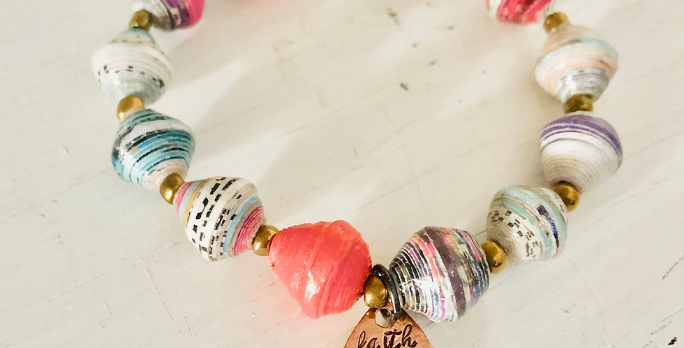 """""""Faith Moves Mountains"""" Colorful, Paper Bead Bracelet (ready to ship)"""