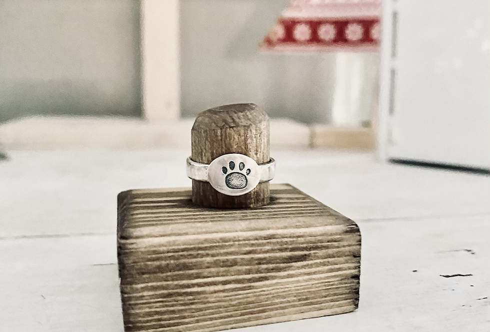 Size 6 Dog Paw Sterling ring -Ready to ship