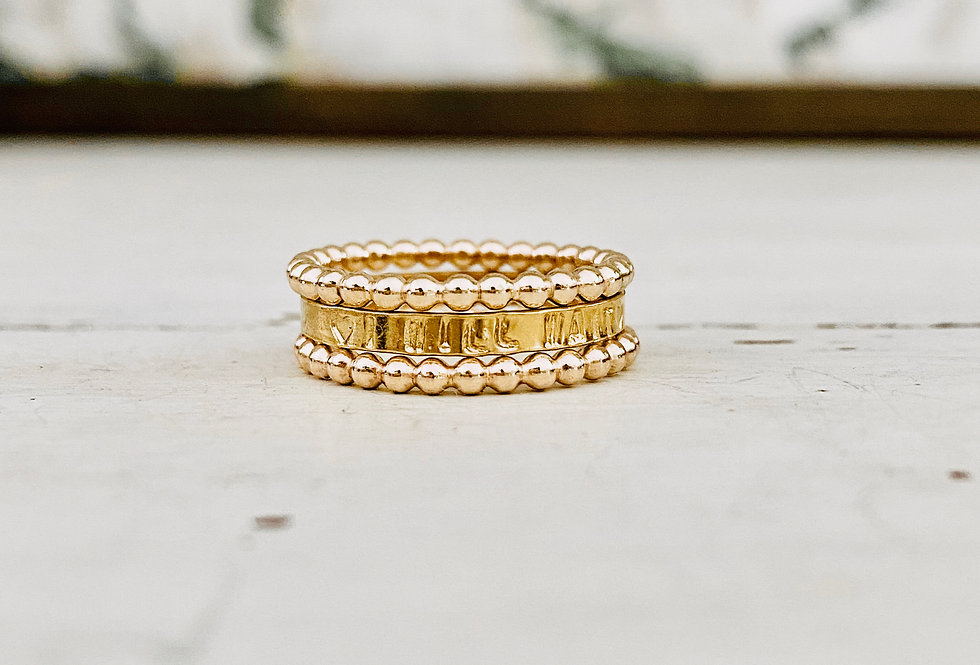 I Will Wait Gold Purity Ring Set 2mm