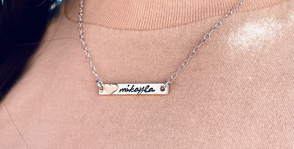 """The """"Mikayla"""" Bar Necklace with Sweet Soldered Heart"""