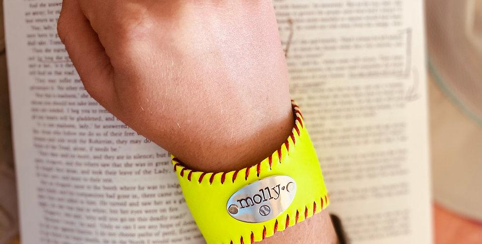 Regular Softball Bracelet with Handstamp of child's name