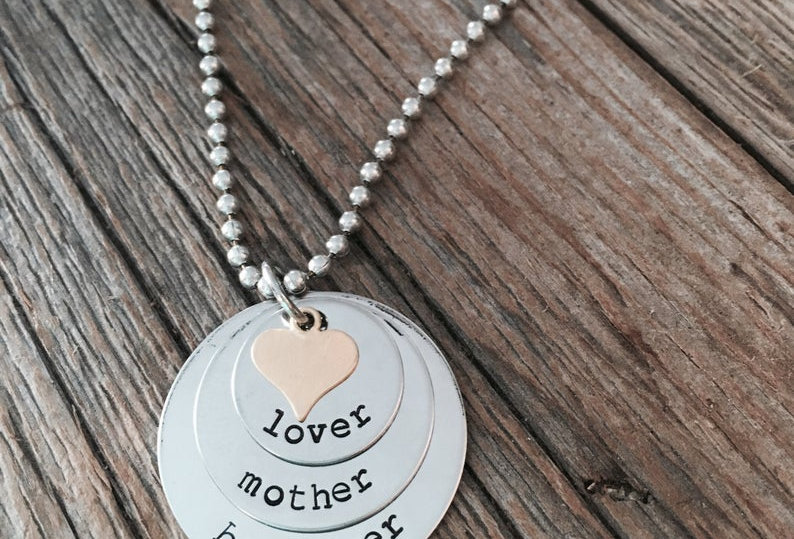 Lover, Believer, Mother stacked necklace
