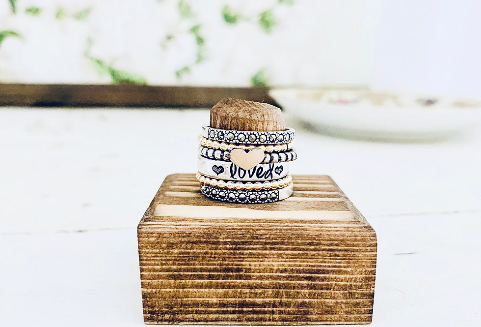 Love Remains Silver and Gold skinny Stack Ring Set