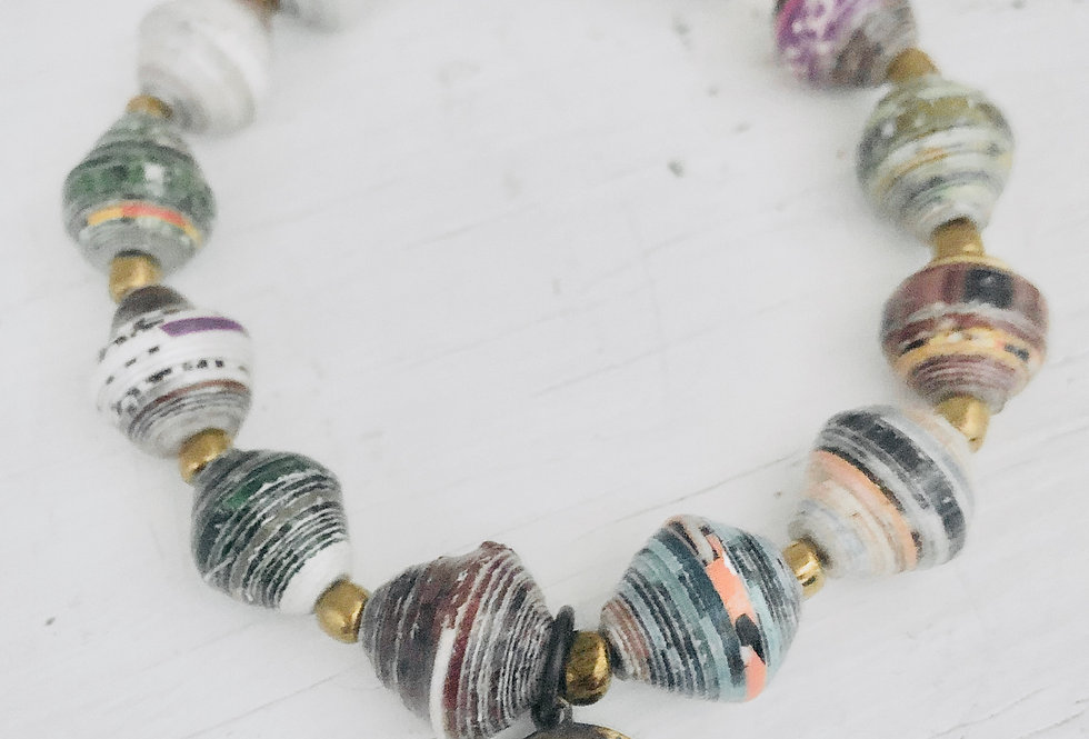Mountains Charm with Colorful, Paper Bead Bracelet (ready to ship)