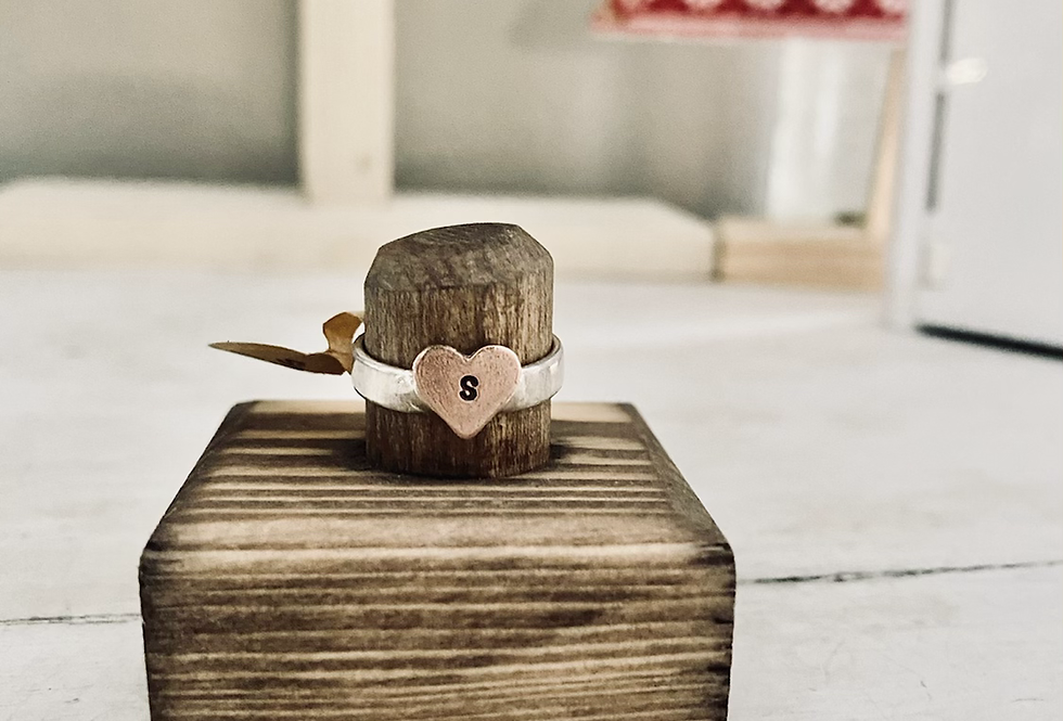 Size 6 Initial Rings on Copper Heart