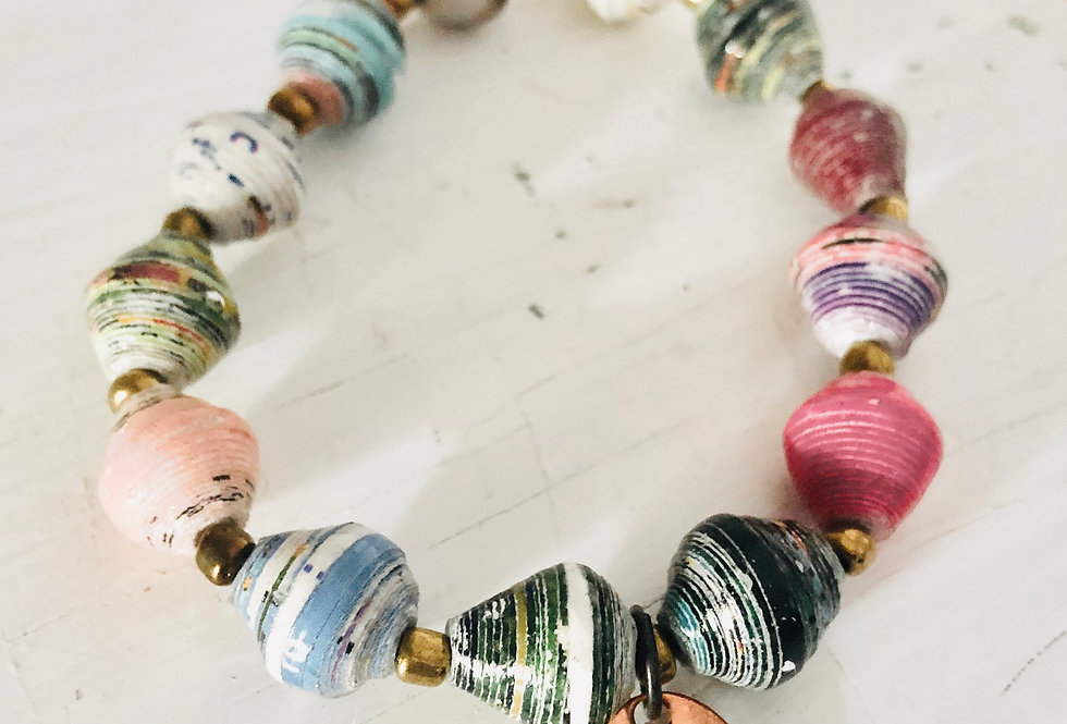 """""""You Are Loved"""" on Charm with Colorful, Paper Bead Bracelet (ready to ship)"""