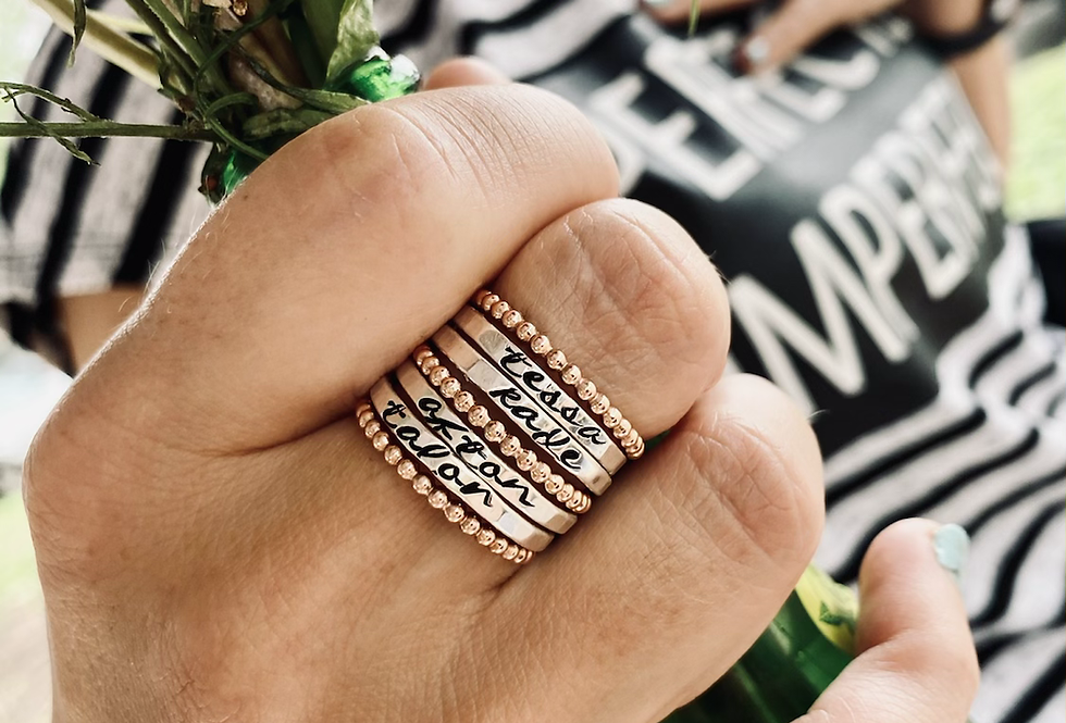 4 Skinny personalized rings with 3 ROSE GOLD bead rings