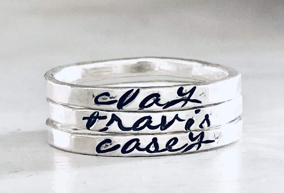Personalized Stack Ring- Set of 3 - Hammered