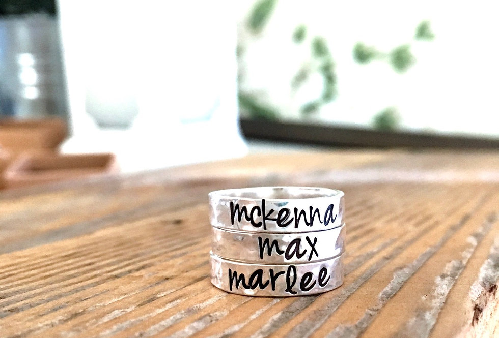 3 Personalized Ring Set-4mm Hammered