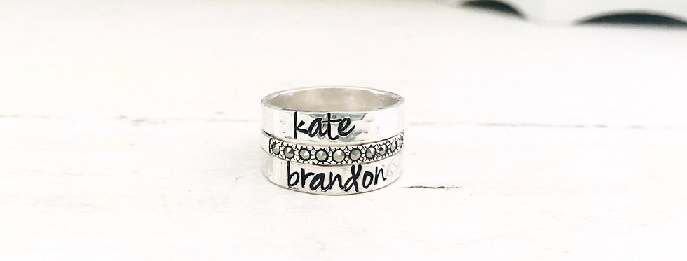 RING SET -2 Personalized Hammered Rings and 1 Marcasite Stackable Ring